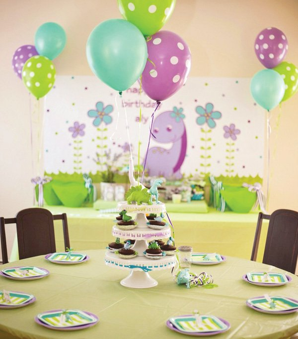 Girly dinosaur themed party