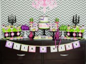 glam halloween party dessert table
