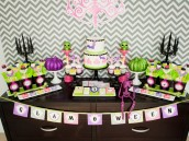 glam halloween party dessert table layout