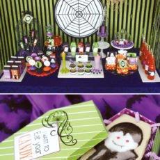 glam haunted halloween dessert table