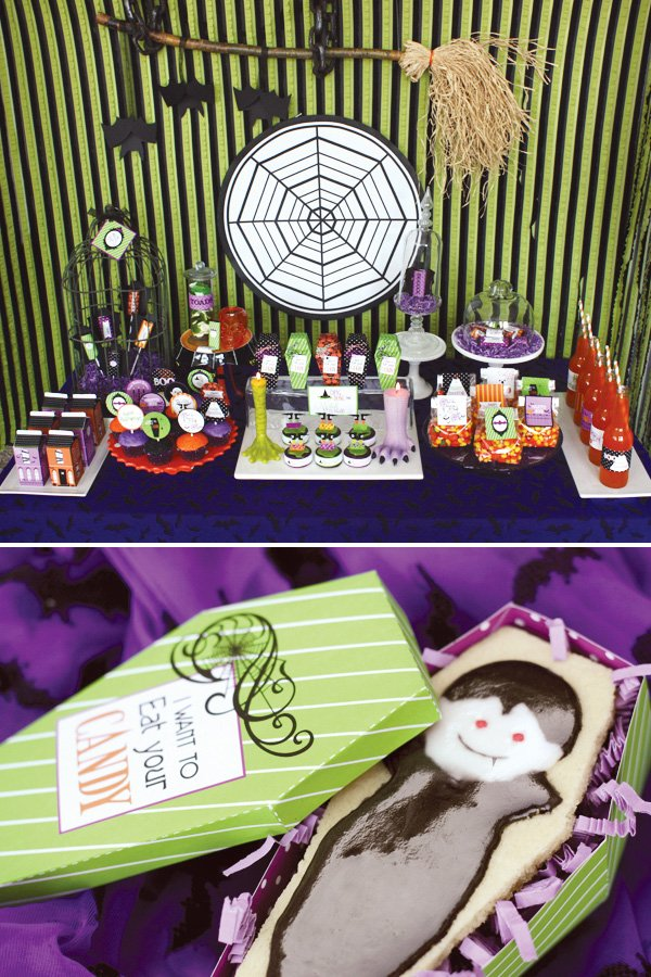 glam haunted halloween dessert table