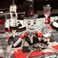 halloween black and white centerpiece ideas