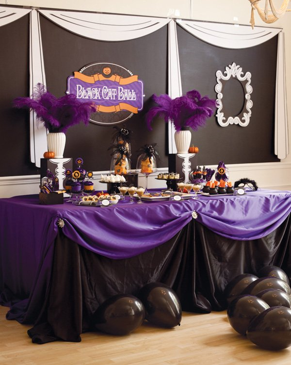 Halloween party black and purple dessert table