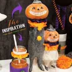 halloween kids party - costumed drinks and decorations