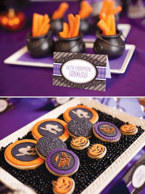 Carrot sticks in mini caldrons with ranch dressing and halloween inspired cookies