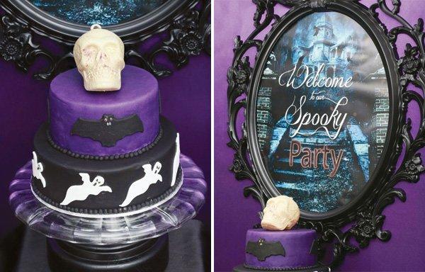 Halloween skull ghost cake