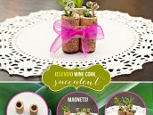 homemade hostess gift idea: wine cork succulents