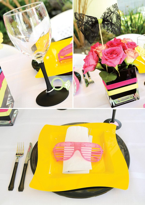 80s bridal shower tablescape