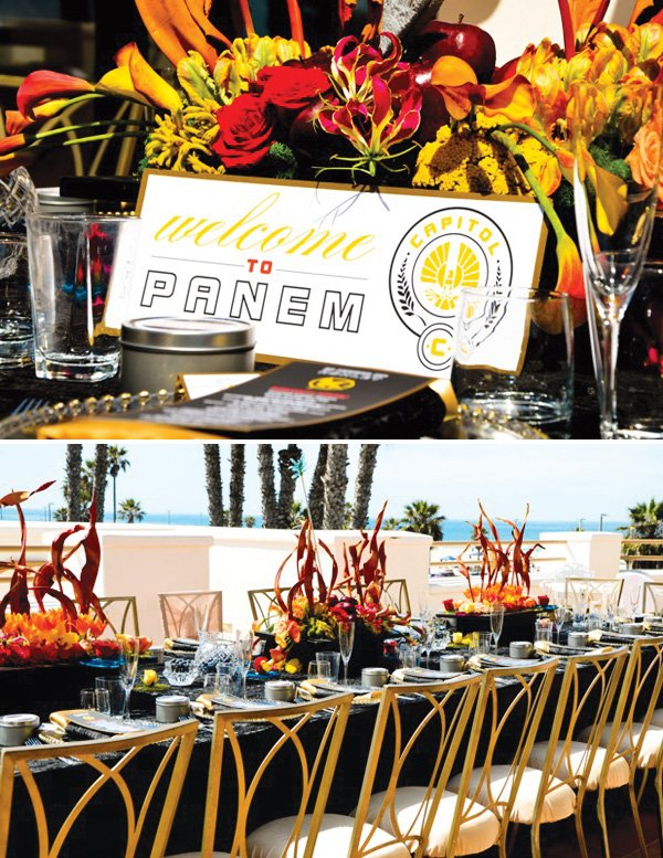 hunger games bridal shower tablescape