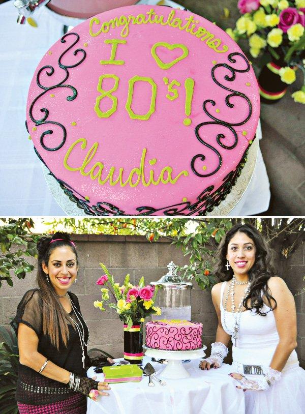 hot pink 80s cake