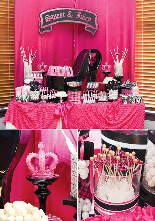 Juicy Couture inspired dessert table