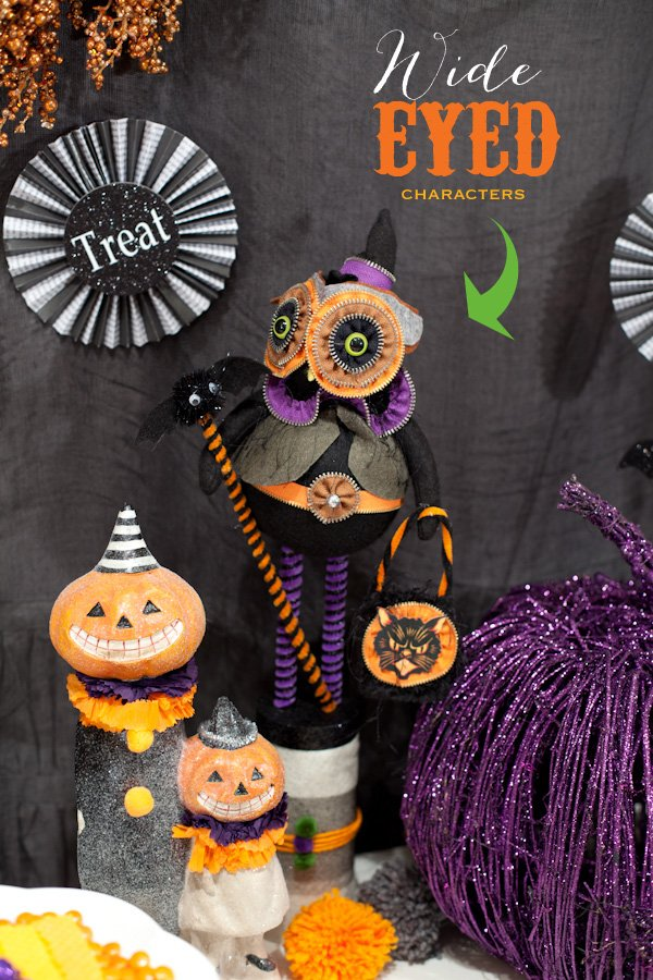 trick or treat halloween party theme - purple green orange