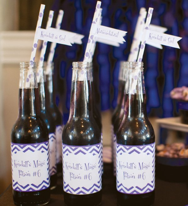 Purple chevron drink wrappers