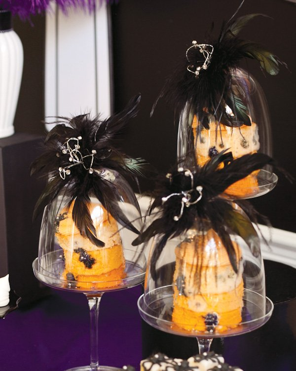 Orange ombre halloween cakes with feathered cake stands