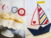 Origami sailboat cake topper