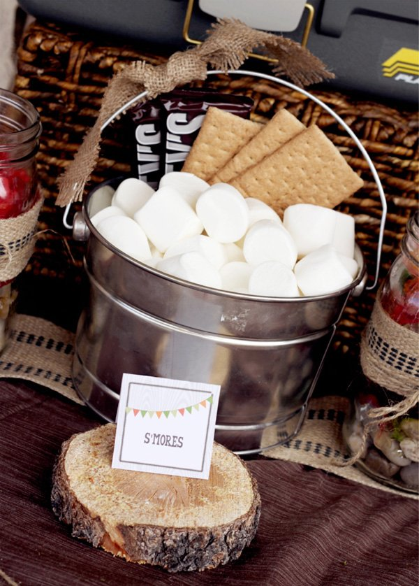 outdoor backyard camping party ideas smores station
