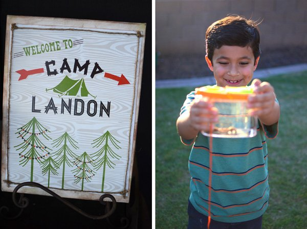 outdoor backyard camping party ideas sign