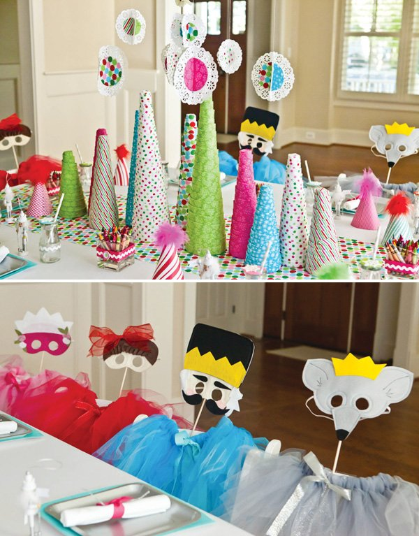 Paper tree centerpiece & nutcracker costumes