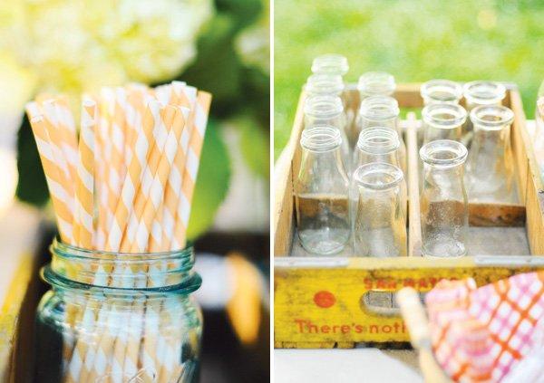 peach stripe straws
