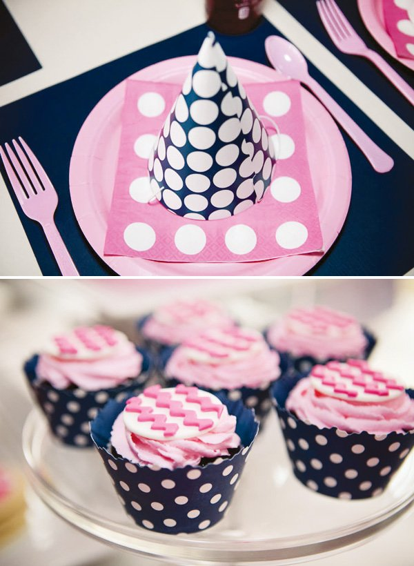 pink and navy polka dot chevron desserts