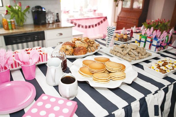 pink and navy pajama party breakfast