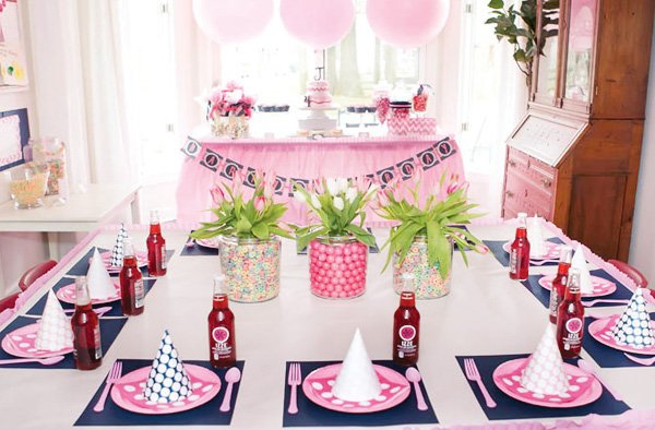 pink and navy pajama party tablescape