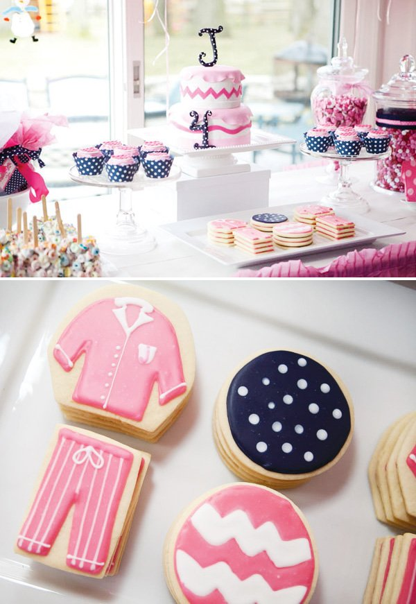 pink pajama party cookies