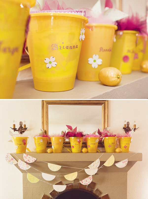 yellow bucket party favors
