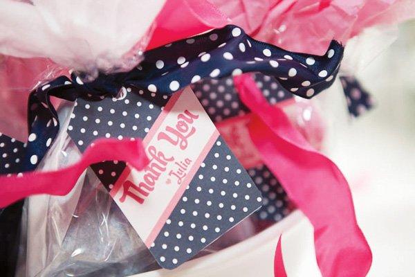 pink and navy polka dot thank you tag
