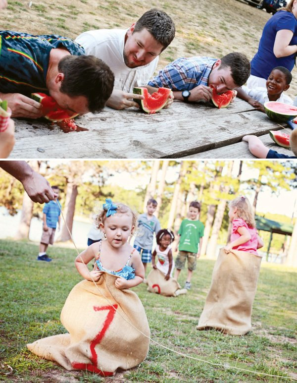 Potato sack race and watermelon eating contest