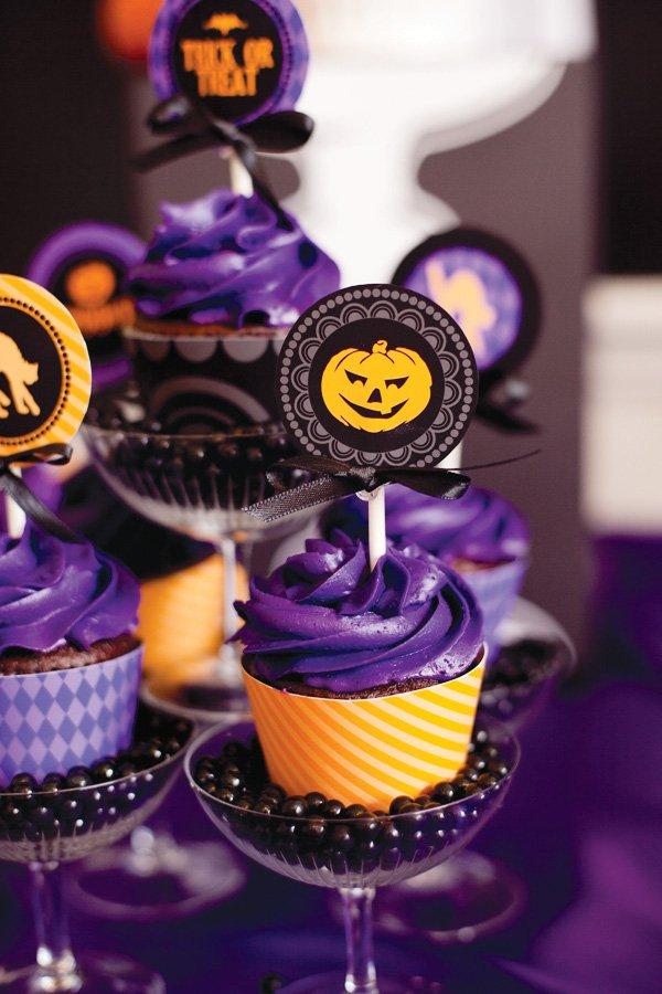Halloween Jack-o-Lantern cupcake topper printable