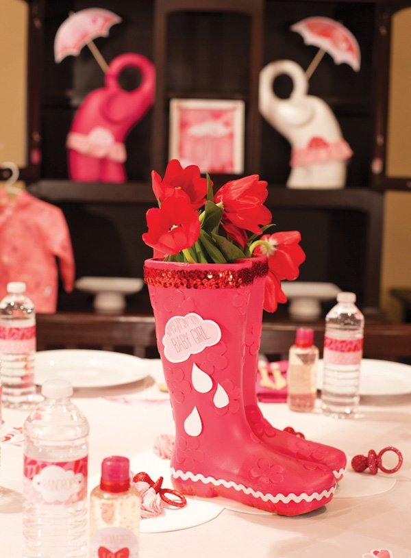 rain boot centerpiece idea for a rain shower baby shower