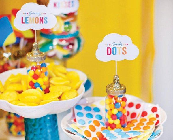 retro rainbow baby shower dessert tags