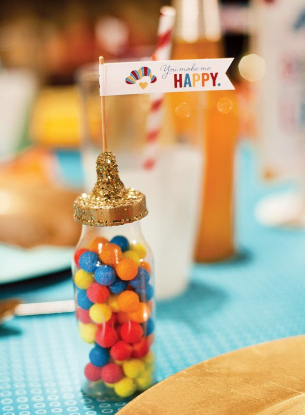 retro rainbow baby shower favors