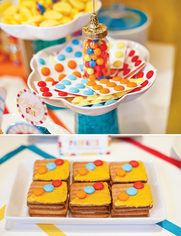 rainbow candy dots and rainbow cookies