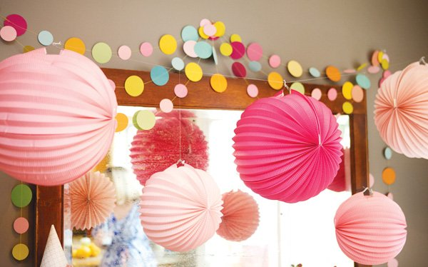 colorful circle garland and poms