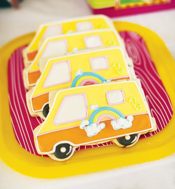 retro Barbie camping cookies