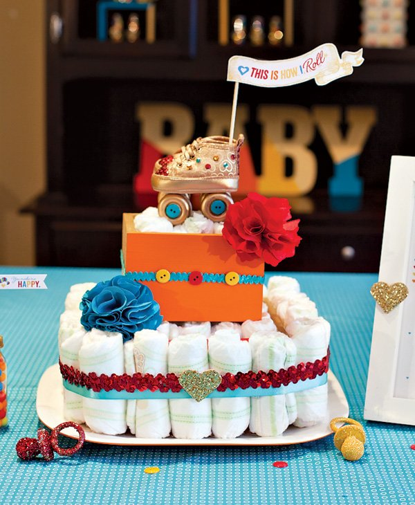 retro baby shower diaper cake