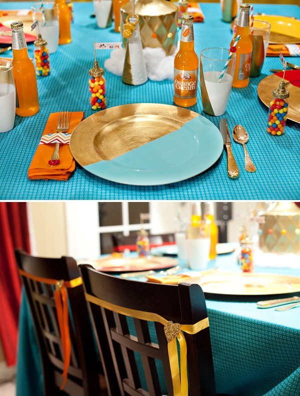 retro color block place settings and drinks