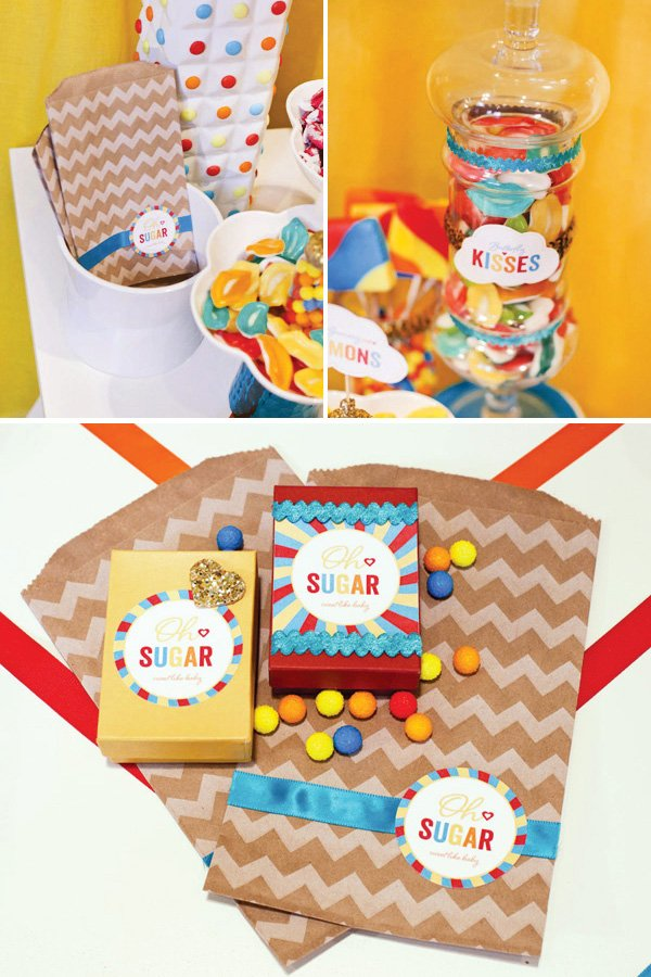 retro rainbow baby shower candy bags