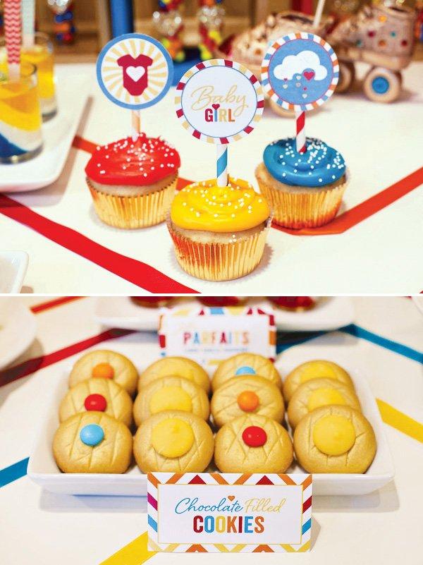 retro rainbow baby shower cupcake toppers