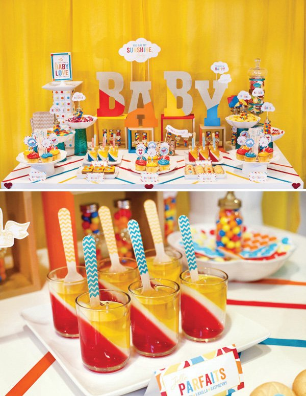 retro rainbow baby shower dessert table