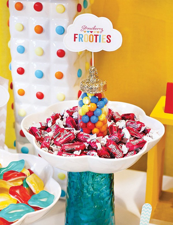 retro rainbow baby shower frooties