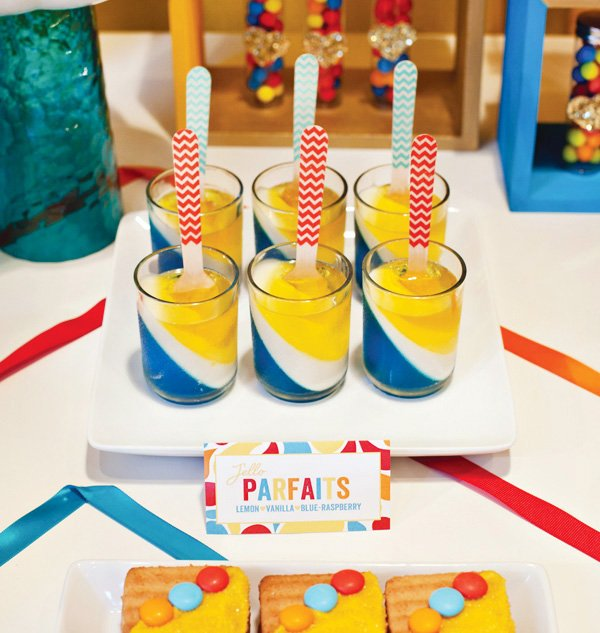 retro rainbow baby shower jello parfaits