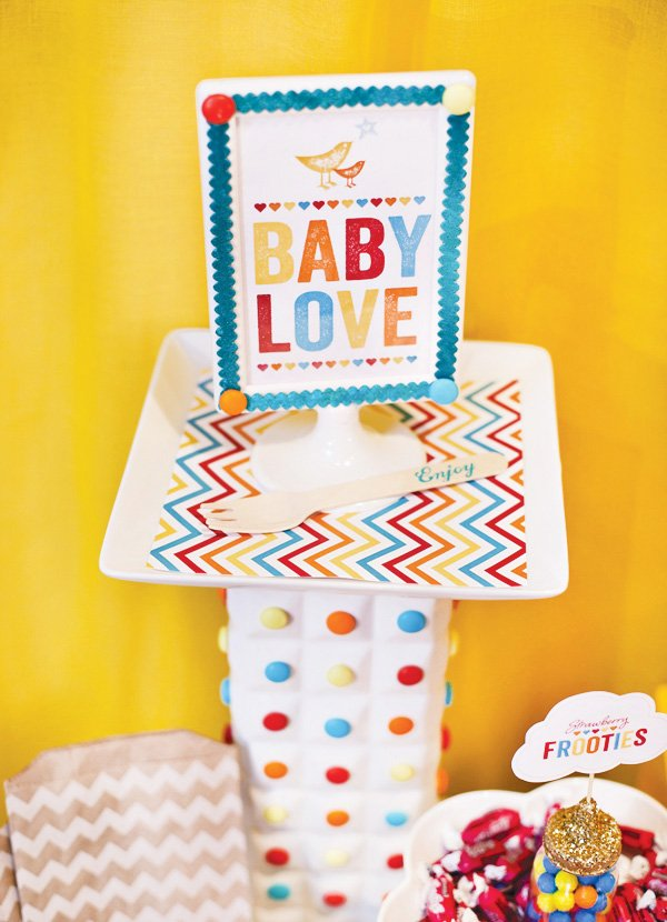 retro rainbow baby shower love sign