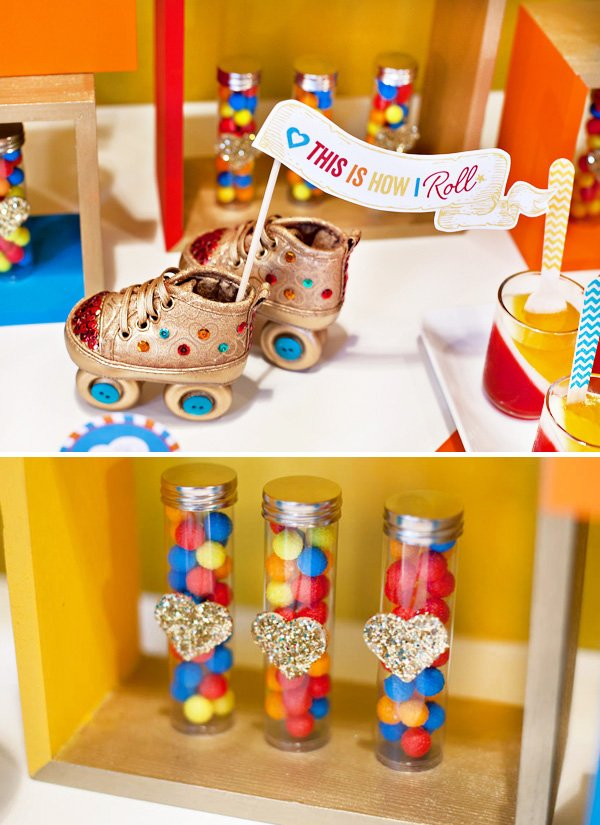 retro rainbow baby shower roller skates