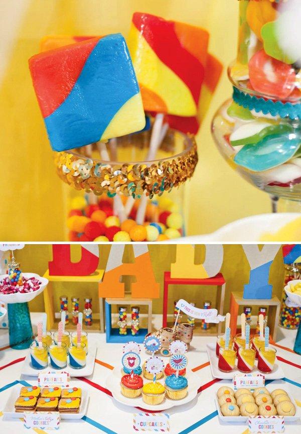 retro rainbow baby shower square lollipops