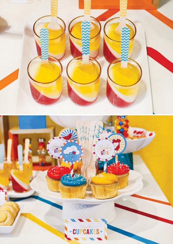 retro rainbow baby shower vanilla cupcakes