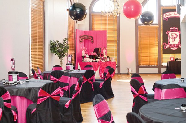 Pink and Black table decorations