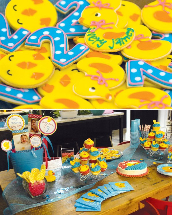 rubber duck sugar cookies and dessert table